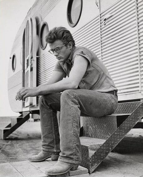 James Dean Looking Cool in Cowboy Boots