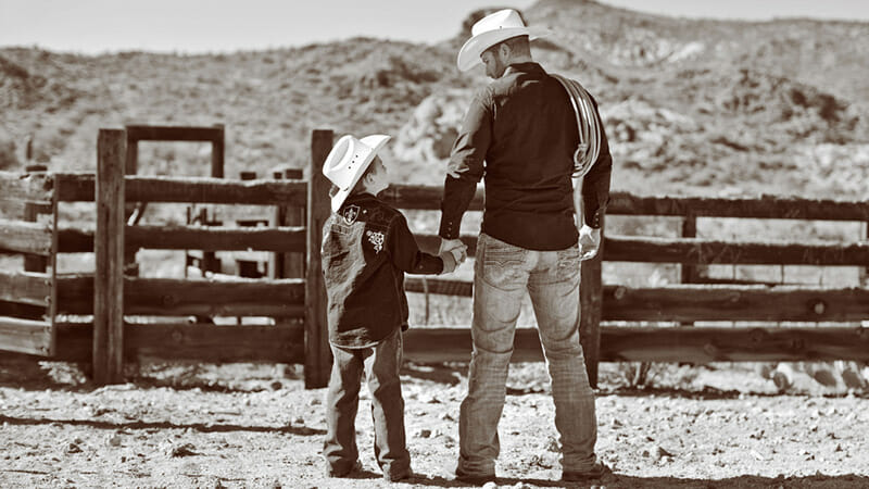 Cowboy Boots Boys - Father and Son Wearing Handmade Cowboy Boots