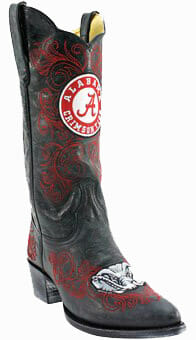 "Collegiate Cowboy Boots - Alabama Crimson Tide Women's 13"" Embroidered Boots - Black"