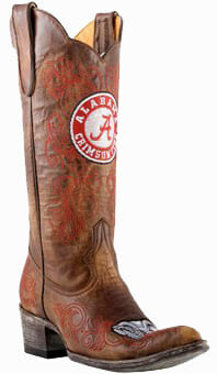 "Collegiate Cowboy Boots - Alabama Crimson Tide Women's 13"" Embroidered Boots - Tan"