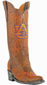 "Collegiate Cowboy Boots - Auburn Tigers Women's 13"" Embroidered Boots - Tan"