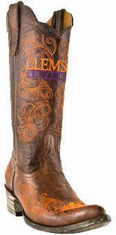 "Collegiate Cowboy Boots - Clemson Tigers Women's 13"" Embroidered Boots - Tan"