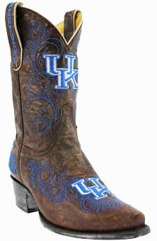 "College Cowboy Boots - Kentucky Wildcats Women's 13"" Embroidered Boots - Brown"