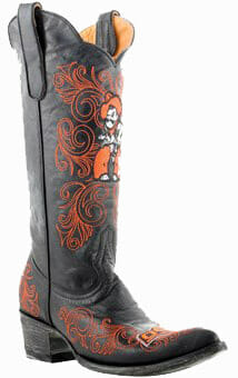 "Collegiate Cowboy Boots - Oklahoma State Cowboys Women's 13"" Embroidered Boots - Black"