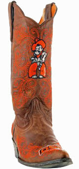 """Oklahoma State Cowboys Women's 13"""" Embroidered Boots - Tan"""