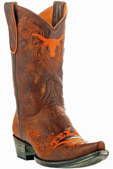 "Collegiate Cowboy Boots - Texas Longhorns Women's 13"" Embroidered Boots - Tan"