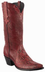 Women's Exotic Skin Cowboy Boots - STALLION WOMEN'S DARK RED PYTHON COWGIRL BOOTS