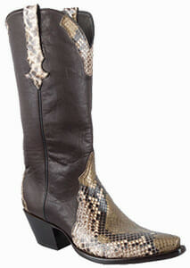 Women's Exotic Skin Cowboy Boots - STALLION WOMEN'S GOLD PAINTED PYTHON BOOTS