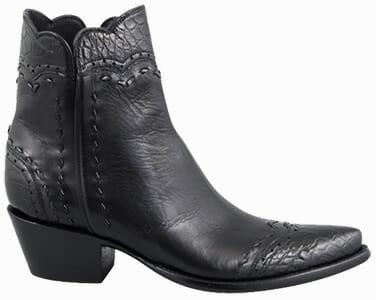 Women's Exotic Skin Cowboy Boots - STALLION WOMEN'S ZORRO BLACK ALLIGATOR HANDMADE ANKLE BOOTS