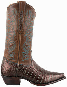 Women's Exotic Skin Cowboy Boots - TONY LAMA WOMENS BRONZE AND TURQUOISE NILE CROCODILE BELLY COWBOY BOOTS