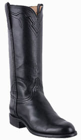 Womens Roper Cowboy Boots - LUCCHESE WOMENS BLACK BABY BUFFALO ROPER BOOTS