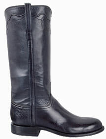Womens Roper Cowboy Boots - HANDMADE LUCCHESE WOMEN'S NAVY BURNISHED BABY BUFFALO ROPER BOOTS