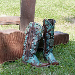 Turquoise Cowboy Boots Women - DOUBLE D RANCH WOMEN'S AMMUNITION HANDMADE BOOTS IN TURQUOISE AND BROWN DISTRESSED LEATHER