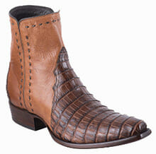 A Different style of cowboy boots - STALLION MEN'S COGNAC CAIMAN ZORRO BOOTS REVIEW ANGLE VIEW