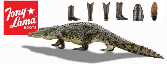 Nile Crocodile Cowboy Boots - Tony Lama Crocodile Boots Banner