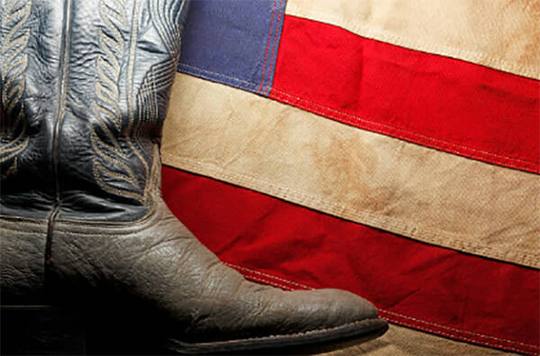 American Made Cowboy Boots Men - Boot and American Flag