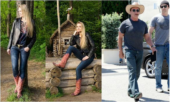 Cowboy Boots And Jeans - Arnold Schwarzenegger and Woman wearing jeans and cowboy boots