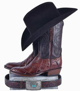 Lucchese American Alligator Boots - Boots with cowboy hat and western belt
