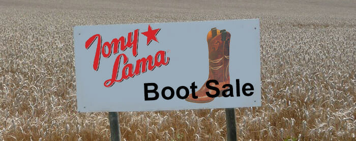 Tony Lama Cowboy Boots Sale - Boot Sale Sign in Field