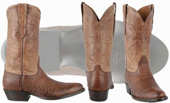 Ostrich Cowboy Boots Men - Black Jack Men's Burnished Cigar Smooth Ostrich Boots