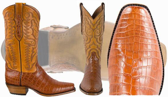 Best Men's Cowboy Boots - Tony Lama Brandy Vintage Nile Crocodile Belly Boots