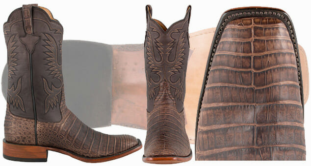 Genuine Caiman Cowboy Boots - RIOS OF MERCEDES MENS CHOCOLATE SUAVE CAIMAN BOOTS