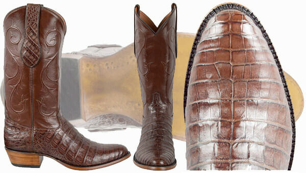 Genuine Caiman Cowboy Boots - TONY LAMA CHOCOLATE CAIMAN BELLY BOOTS