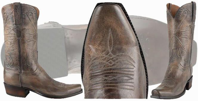 Square Toe Cowboy Boots - LUCCHESE MEN'S PEARL BONE MAD DOG GOAT BOOTS