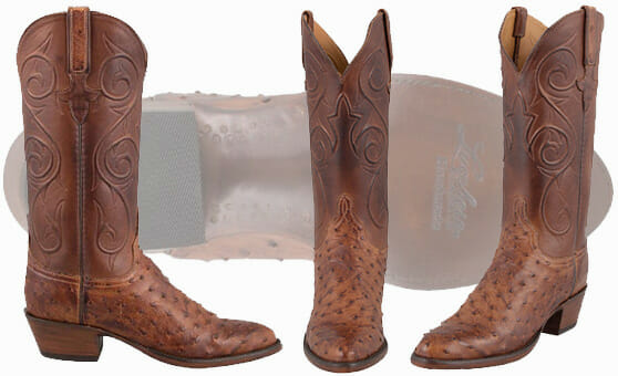 Womens Ostrich Cowboy Boots - Lucchese Womens Barnwood Ostrich Boots