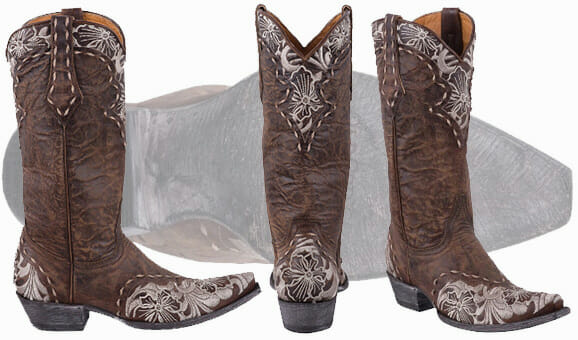 Ladies Cowgirls Boots Sale - Old Gringo Tall Boots In Brass With floral Accents