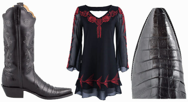 Dresses You Can Wear With Cowboy Boots - Lucchese Black Caiman Crocodile Triad Cowgirl Boots