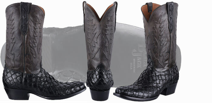 Pirarucu Boots Sale - BLACK JACK FOR PINTO RANCH MEN'S BLACK INVERTED FISH BOOTS