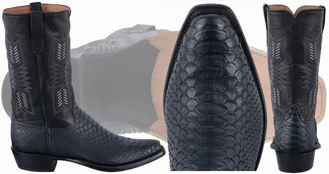 Python Cowboy Boots For Men - RIOS OF MERCEDES MEN'S BLACK AND NAVY PYTHON BOOTS