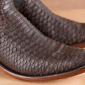 Python Cowboy Boots For men - Rios Of Mercedes Chocolate Python Skin