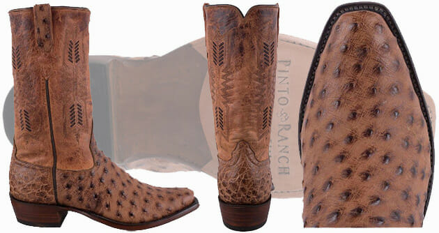 Ostrich Cowboy Boots Men - Rios of Mercedes Brandy Goat and Ostrich Boots