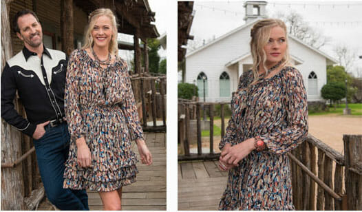 Dresses You Can Wear With Cowboy Boots - SCULLY HONEY CREEK FEATHER PRINT DRESS