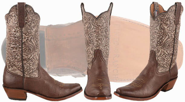 Sexy Cowgirl Boots - WOMEN'S KANGO TOBACCO MAD DOG SMOOTH OSTRICH TOOLED COWBOY BOOTS