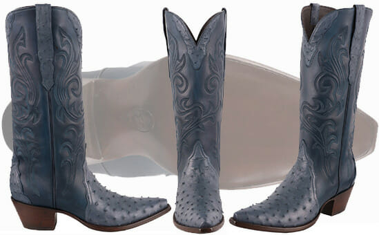 Sexy Cowgirl Boots - STALLION WOMEN'S BLUE FULL QUILL OSTRICH COWGIRL BOOTS