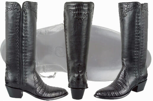 Sexy Cowgirl Boots - STALLION BLACK CAIMAN MAJESTIC ZIPPER WOMEN'S COWGIRL BOOTS