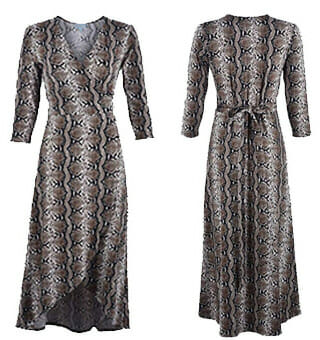 Dresses You Can Wear With Cowboy Boots - VERONICA M. KRAVITZ SNAKE SKIN WRAP DRESS