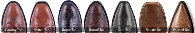Cowboy Boot Toe Types - Different Styles