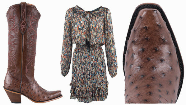 Dresses You Can Wear With Cowboy Boots - TONY LAMA SIGNATURE SERIES WOMEN'S KANGO TOBACCO FULL QUILL OSTRICH AND BOURBON MONT BLANC BOOTS