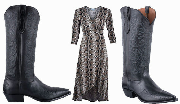 Dresses You Can Wear With Cowboy Boots - TONY LAMA SIGNATURE SERIES WOMEN'S MIDNIGHT BLACK LIZARD WINGTIP BOOTS