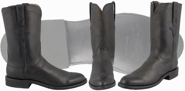 Lucchese Handmade Boots - Black Burnished Calf Ropers