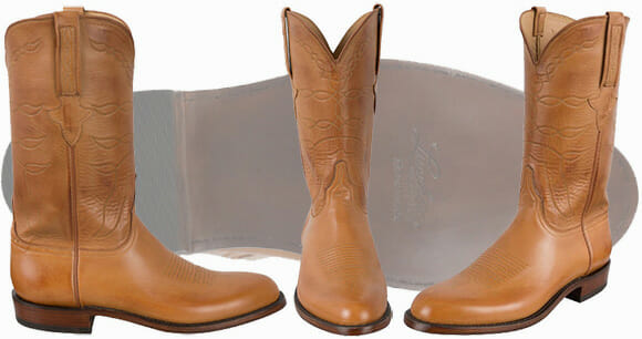Lucchese Handmade Boots - Sand Burnished Baby Buffalo Roper