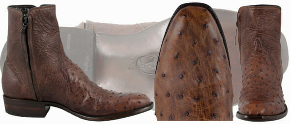 Mens Short Cowboy Boots - STALLION MENS ZORRO ANTIQUE SADDLE FULL-QUILL OSTRICH ANKLE BOOTS