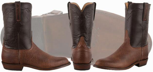 Roper Cowboy Boots For Men - Lucchese Mocha Bison Ropers