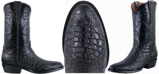 Black Cowboy Boots - BLACK JACK MEN'S BLACK CAIMAN FLANK BOOTS
