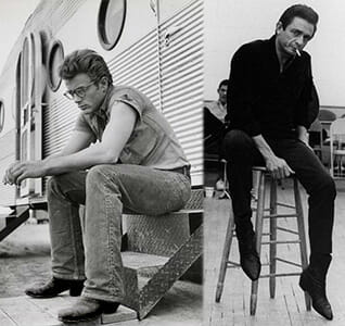 James Dean and Johnny Cash wearing Black Cowboy Boots