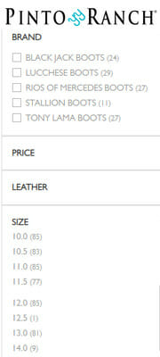 Pinto Ranch Sizes for Mens Large Size Cowboy Boots